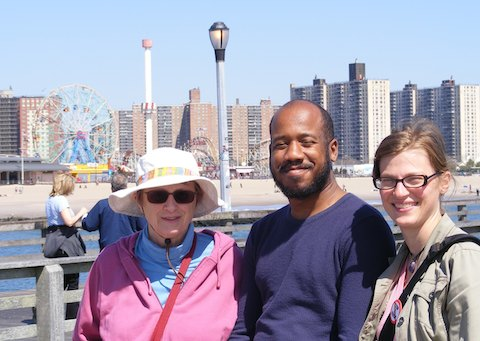 A close up photo of Gail, Eric and CJ with the 