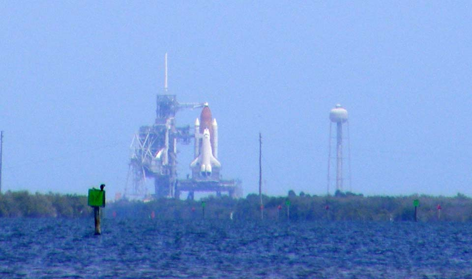 Atlantis sitting on the launch pad during the morning of Monday, May 11, 2009