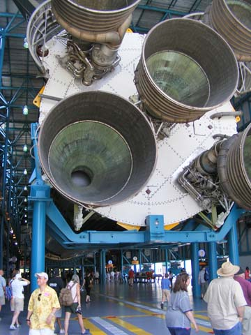 The nozzle end of the first stage of a Saturn V rocket. The scale is 