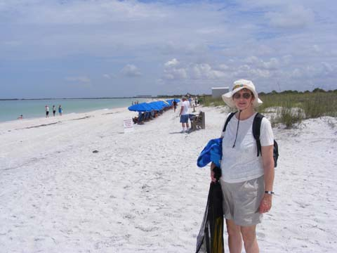 Gail standing on the beach at Caladesi Island