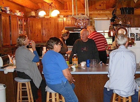 Folks gather around the 