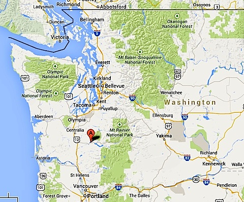 Google map of western Washington state showing location                 of Ike Kinswa State Park