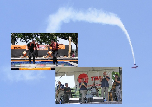 Superimposed on a photo of an airplane performing                aerial tricks is a photo of two men giving a demonstration                of burling and another photo of a jazz band with keyboard,                sax, trumpet, trombone, drums and bass
