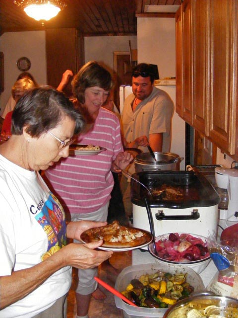 The buffet line for dinner on Sunday evening