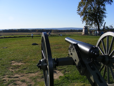 A cannon points from the Union positions at